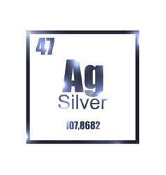 Silver element of the periodic table shine vector image argentum silver periodic table element vector image urtaz