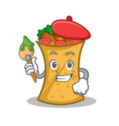 artist kebab wrap character cartoon vector image vector image