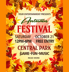 Autumn party festival invitation poster vector