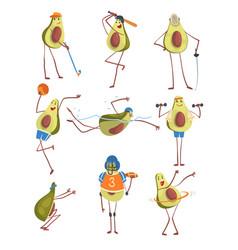 avocado cartoon character doing sports set funny vector image