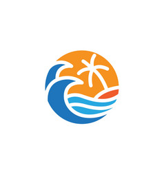 beach with ocean wave and palm tree logo design vector image