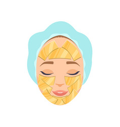 Beautiful woman with moisturizing mask on her face vector