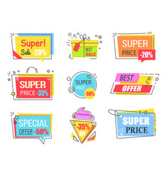 best offer with huge discount promotional emblems vector image