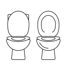Bidet bathroom or toilet seat line art icons vector