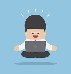 Businessman meditating when working with laptop vector