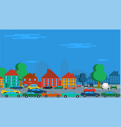 Cars in old town vector