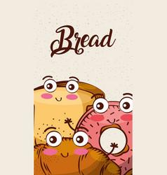 cartoon kawaii bread fresh bakery vertical banner vector image