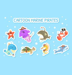 cartoon marine pirate stickers funny marine vector image