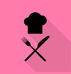 Chef with knife and fork sign black icon with vector
