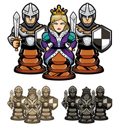 Chess queen and pawns vector