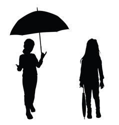 children holding umbrella vector image