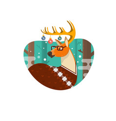 christmas card with nerd hipster deerflat vector image