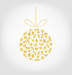 Christmas tree ball from golden gift box and vector