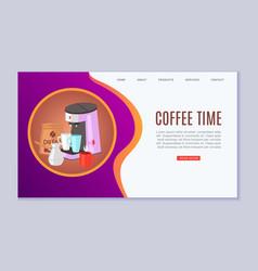 coffee time cartoon flat web vector image