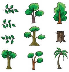 Collection of tree set doodles vector