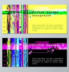 colored glitch design background banner icons vector image