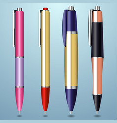 colorful realistic pen collection vector image