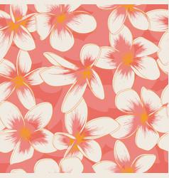 Coral frangipani seamless pattern vector