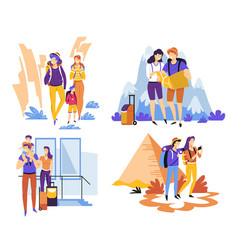 couple with kid travelling carrying backpacks and vector image