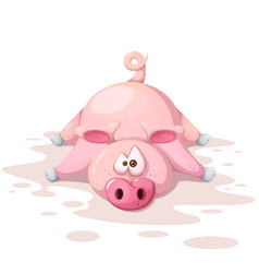 cute funnny crazy pig characters symbol of the vector image