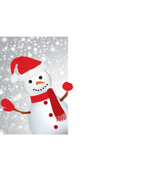 cute snowman holding an empty space for text vector image