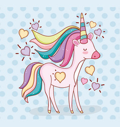 Cute unicorn animal with hearts and hairstyle vector