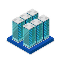 Data centre with server racks isometric 3d icon vector