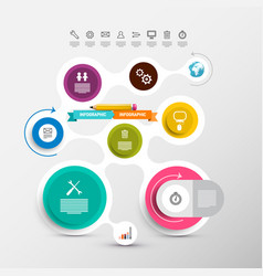 data flow chart circle labels set with icons vector image