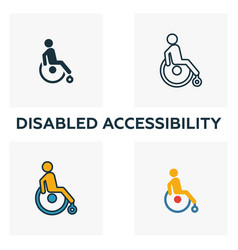 Disabled accessibility outline icon thin style vector