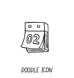 Doodle calendar icon Tear-off calendar vector image