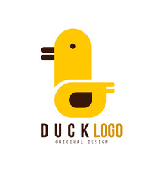 Duck logo tamplate creative badge with yellow vector