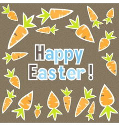 Easter carrots card on a brown vector