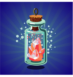 fantasy catoon bottle with crystal bright magic vector image