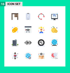 Flat color pack 16 universal symbols vector