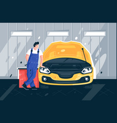 flat young man mechanic near yellow machine in car vector image