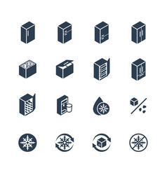 freezer and refrigerator icon set in glyph style vector image