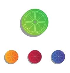 Fruits lemon sign colorful applique icons set vector