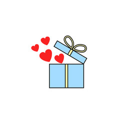 gift box with hearts flat icon love present vector image