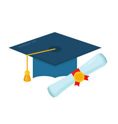 Graduation cap and diploma rolled scroll vector