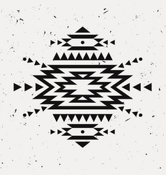 Grunge monochrome decorative ethnic pattern vector