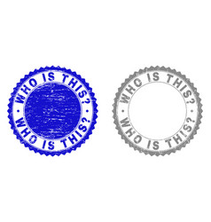 Grunge who is this question scratched stamp seals vector
