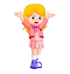 Happy little girl cartoon vector