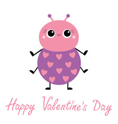 happy valentines day cartoon beetle bug insect vector image