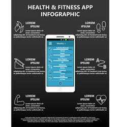 Health and fitness phone application infographic vector