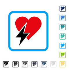 Heart shock framed icon vector