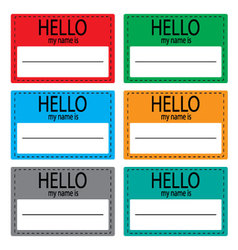 Hello my name is sticker icon set color vector