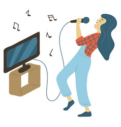 Hobkaraoke woman singing music and tv vector