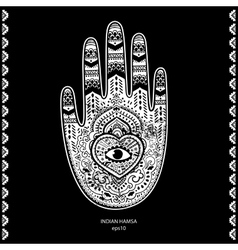Indian hand drawn hamsa symbol ornament vector image