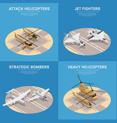 isometric air force icon set vector image