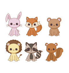 kawaii animals desing vector image